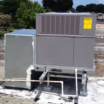 3 Ton Carrier Package A C Unit Installed On Rooftop Of